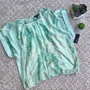 Sheer Mint Green Snake Print Top Plus Size 3X NWT